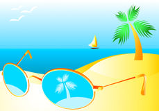 Sun-glasses at beach Stock Photos