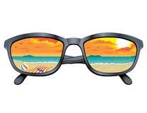 Sun Glasses with Beach Scene Royalty Free Stock Photo