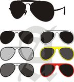 Sun Glasses Collection. Vector illustration - collection fashionable classical (police, pilot) and the sport glasses, different colours frames and UV Royalty Free Stock Image