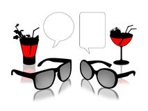 Sun glasses dialogue with cocktails Royalty Free Stock Image