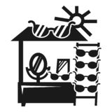 Sun glasses kiosk icon, simple style vector illustration