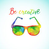 Sun glasses made n of colorful watercolor,  vector Stock Photo
