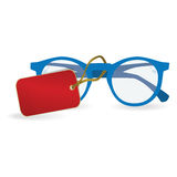 Sun glasses with a red label. eps10. Sun glasses with a red label. Vector illustration Royalty Free Stock Photo