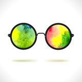 Sun glasses with reflection of colorful watercolor spots Royalty Free Stock Photo