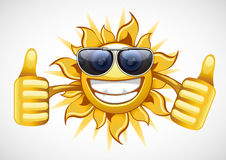 Sun in glasses. Single yellow summer sun with glasses Stock Images