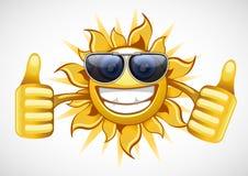 Sun in glasses. Single yellow summer sun with glasses Vector Illustration