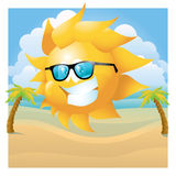 Sun with glasses on summer background Stock Photography