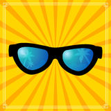 Sun glasses tropics summer vacations concept background Stock Photo