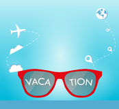 Sun glasses with vacation, clouds and location background. For travel inspiration Stock Images