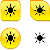 Sun glossy button. Royalty Free Stock Photos