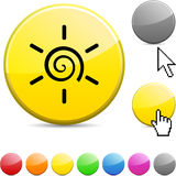 Sun Glossy Button. Stock Image