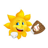 Sun with glove is catching ball. Isolated on white background Royalty Free Stock Image