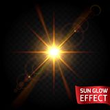 Sun glow effect set on a dark background transparent. Sunrise, sunset, the rays of glare glow. Bright flowing scattering light.  Royalty Free Stock Photography