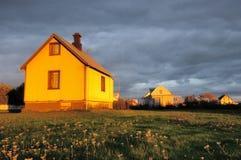 Sun glow on an Icelandic houses Stock Photo