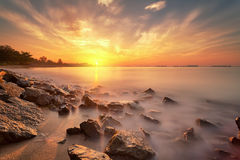 Sun Glow. Sunrise over the sea. the light was perfect to give a nice effect on long exposure shot Royalty Free Stock Image