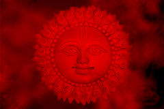 Sun God. An abstract background of the Sun God according to Hinduism, in hot red clouds stock photography