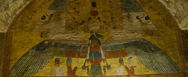 The Sun God Ra or Re. Tomb painting of the Sun God Ra or Re Western Thebes in the tomb of Queen Tausret nineteenth dynasty ca 1190 BC stock photo