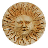 Sun god sculpture. Stone sculpture of a sun god royalty free stock images