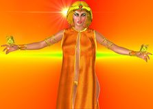 Sun Goddess. On an orange abstract background stands an Egyptian  with her arms open and butterflies resting on each hand .  Wearing a gold crown and jewelry Stock Images