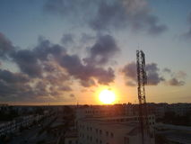 Sun Goes Down. On city Casablanca Royalty Free Stock Photography