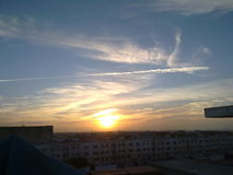Sun Goes Down. On city Casablanca Royalty Free Stock Photos