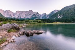 Sunset at the lake of Fusine, Italy Royalty Free Stock Photo