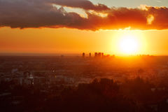 Sun goes down over LA Royalty Free Stock Photo