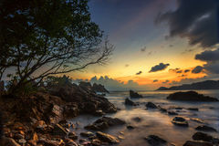 When the sun goes down. Sunset at kelumbayan beach, lampung. indonesia royalty free stock images