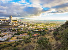 Sun going down over the city of Queretaro Mexico. Royalty Free Stock Image