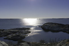The sun is going down on the swedish west-coast. Outside Gothenburg in early spring Stock Images