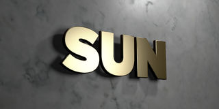 Sun - Gold sign mounted on glossy marble wall  - 3D rendered royalty free stock illustration Royalty Free Stock Photography