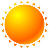 Sun graphics with bright gradient fill. Graphic for summer, sola. Rium, happiness or rellated theme - Royalty free vector illustration Royalty Free Stock Photo