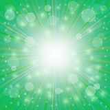 Sun Green  Background. Green  Background. Sun Burst on Green Background. Ray Background with Stars Royalty Free Stock Photo