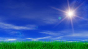 Sun, Green Grass & Blue Sky Stock Photo