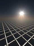 Sun and Grid Horizon. A dark perspective gird horizon with sun flare Stock Photos