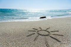Sun ha verniciato nella sabbia Fotografia Stock Libera da Diritti