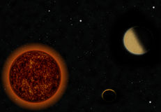Sun and half moon in space Stock Photo