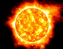 The Sun, half way through Stock Images