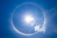 Sun halo with cloud in the sky stock images