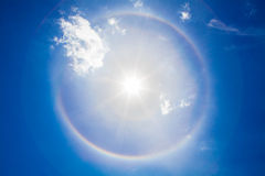 The Sun Halo. In the sky The phenomenon of corona The rainbow is a circle around the sun Stock Photography