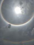 The Sun-halo, zoncorona Stock Foto