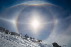 Sun Halos in Winter Stock Images