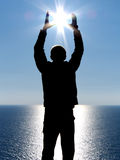 Sun in hand. Element of design Royalty Free Stock Image