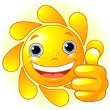 Sun Hand giving thumbs up Royalty Free Stock Image