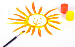 Sun hand painted Royalty Free Stock Photography