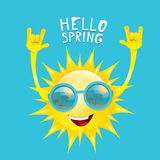 Sun hand rock n roll icon vector . Spring Royalty Free Stock Image