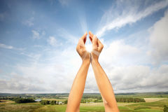 Sun in hands. Concept of solar energy royalty free stock image