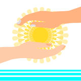 Sun in hands near water Royalty Free Stock Images