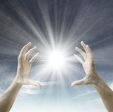 Sun in the hands Royalty Free Stock Photos