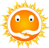 Sun with hands. A vector drawing represents sun with hands design Stock Illustration